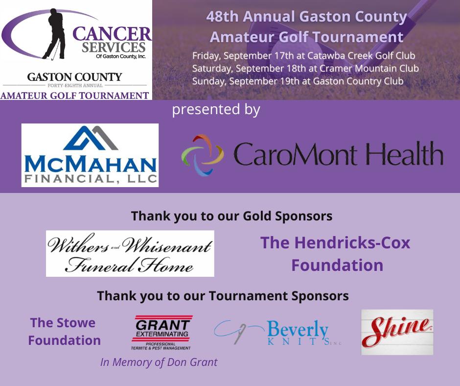 Gaston Cancer Services Golf Tournament Sponsors